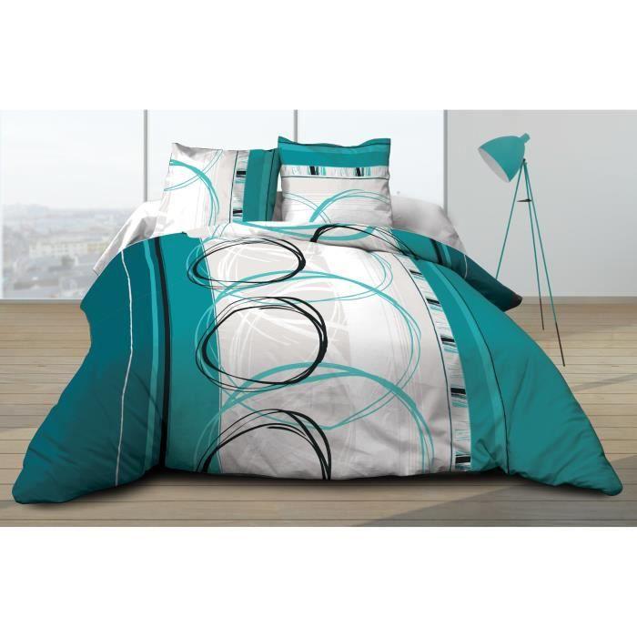 Parure Drap plat + drap-housse 160x200 + 2 T - Pur coton 57 fils - Roue libre turquoise