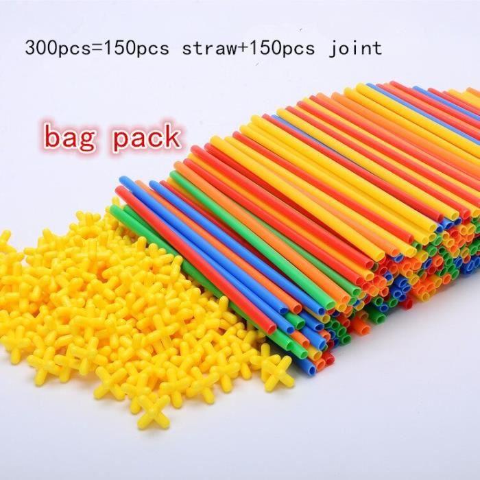 Maquette,4D bricolage blocs magnétiques en plastique paille combat inséré Construction Kits de Construction blocs jouet - 300 #A