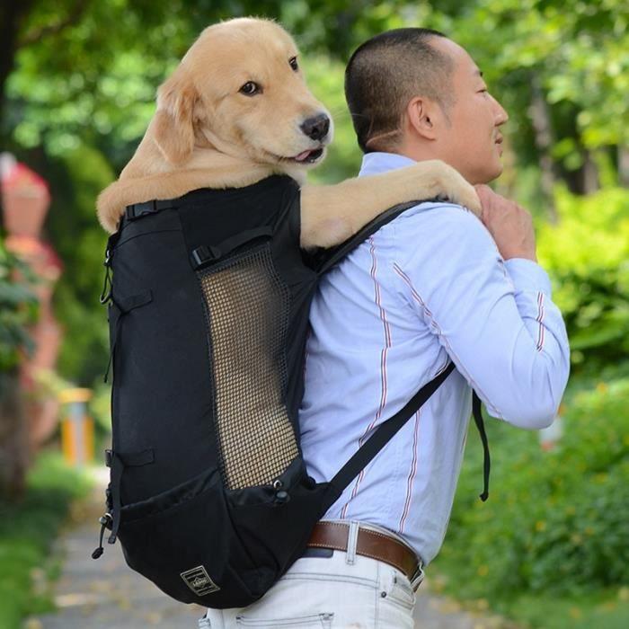 Sac de transport,Sac de transport respirant pour chien de compagnie pour grands chiens Golden Retriever Bulldog sac - Type Black-XL