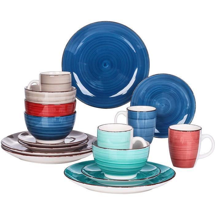 vancasso, Série Bella, Service de Table Classqiue en Porcelaine, 16 Pièces, Faïence Style Vintage Rustique