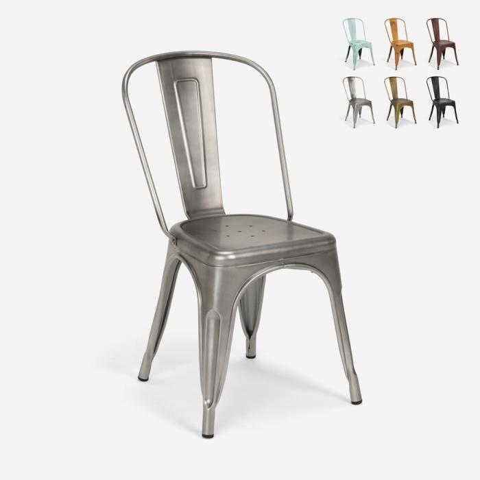 Chaises design industriel vintage en métal shabby chic style Tolix Steel Old, Couleur: Silver