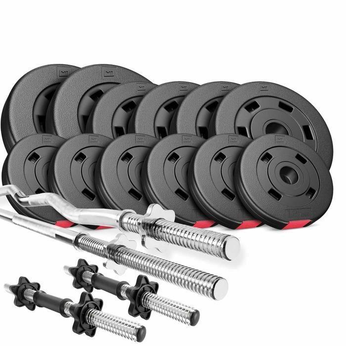 HS Hop-Sport Ensemble d'Haltères 45 kg 1x Barre Longue, 1xBarre Curl, 2x barres courtes, Poids 2x5kg / 4x2,5kg / 6x1,25kg