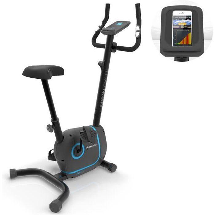 Klarfit Myon Cycle Vélo d'appartement silencieux avec écran SmartCardio Studio - Inertie de 12 kg - résistance magnétique 8 niveaux