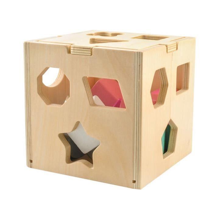 Cube de tri de formes en bois à partir de 3 ans 12 blocs 14 12 Blocs