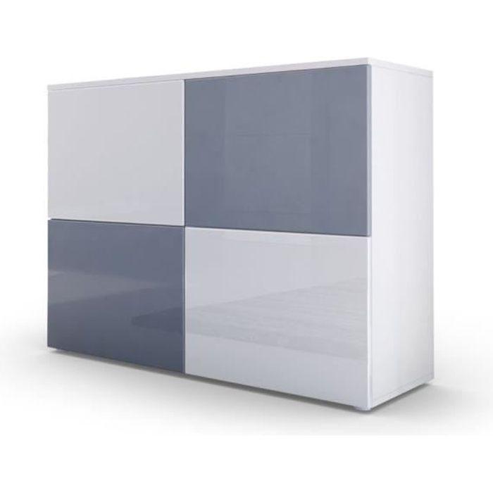 Commode moderne façades bicolores grises et blanches laquées et corps mat blanc