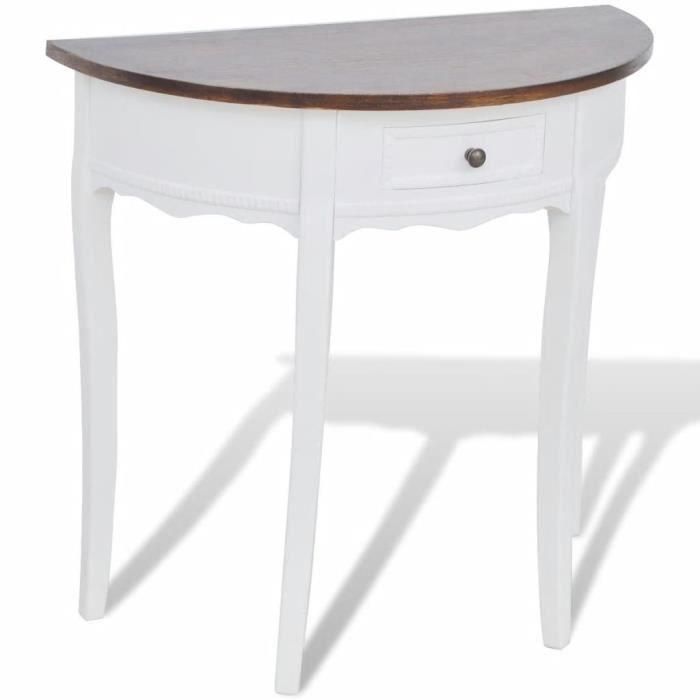 Magnifique Table console avec tiroir et dessus de table marron Demi-ronde