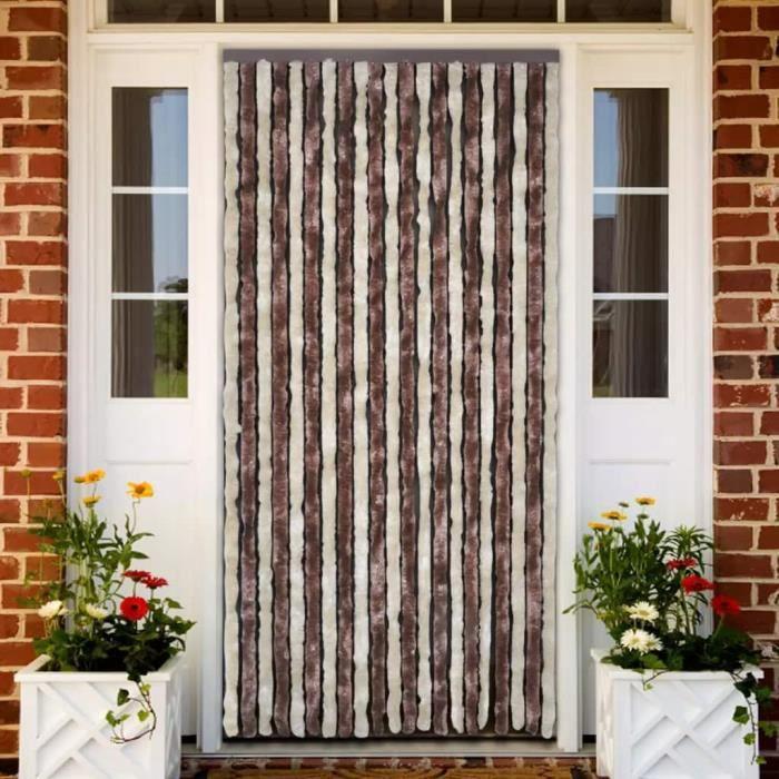 Rideau de porte chenille brun et beige 100 x 220 cm