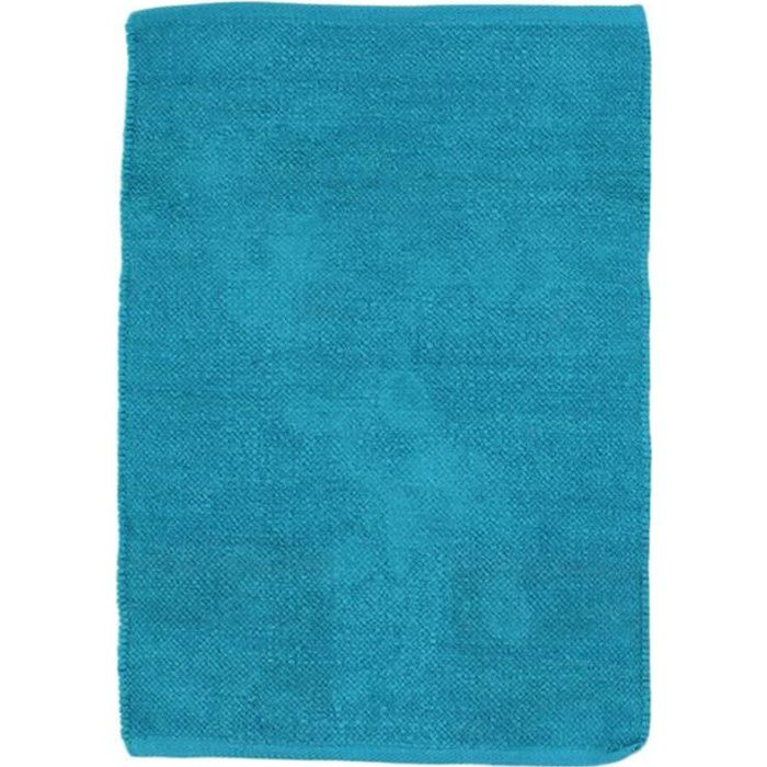 CHENILLE - Tapis en coton extra-doux bleu lagon 85x55