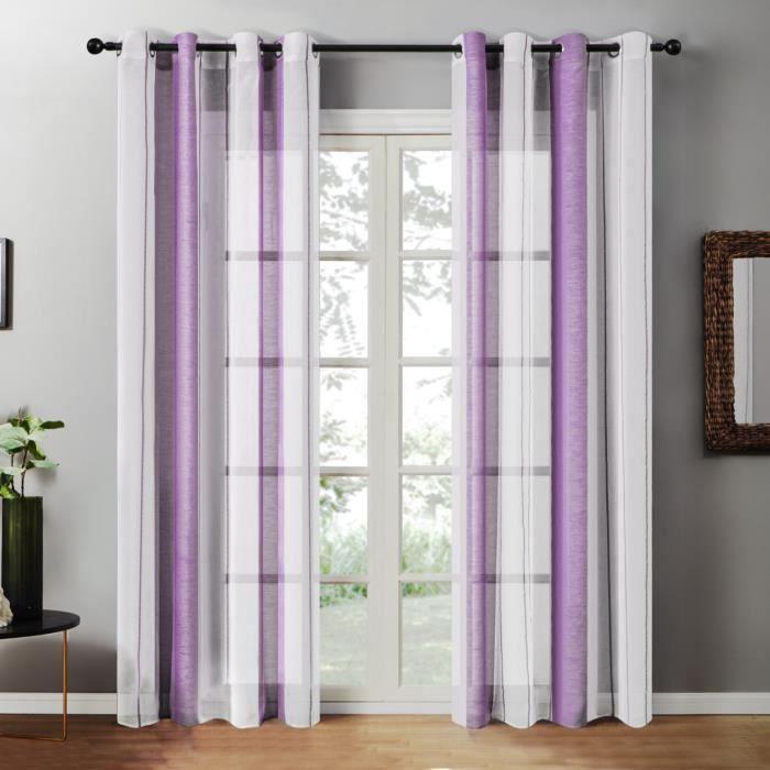 Rideau Voilages 140x240cm - Violet 2 panneaux - Topfinel