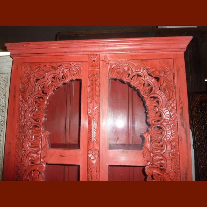 BIBLIOTHÈQUE  Armoire bibliothèque vitrée rouge