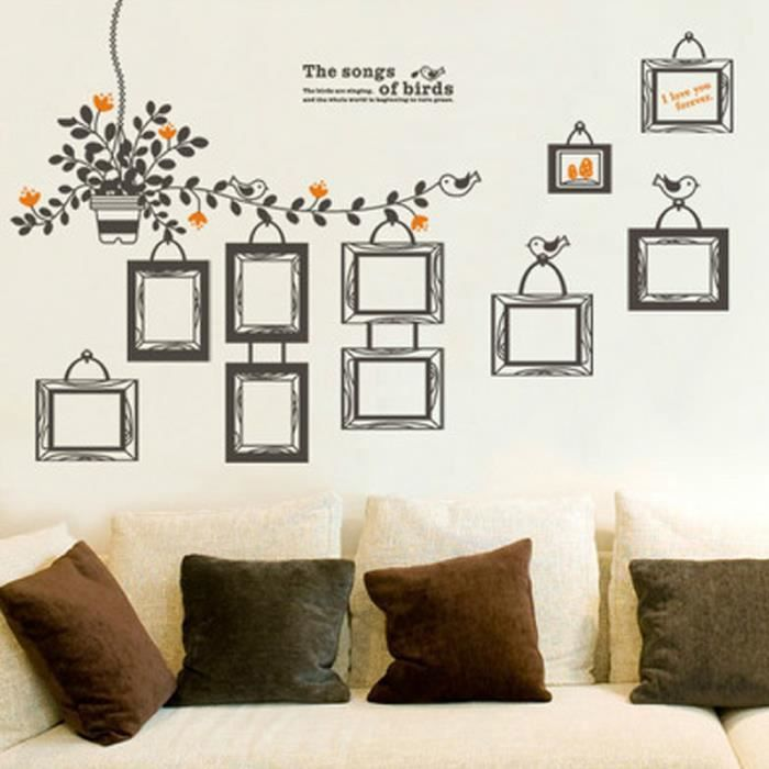 cadre photo stickers muraux mariage d coration salon achat vente stickers cdiscount. Black Bedroom Furniture Sets. Home Design Ideas