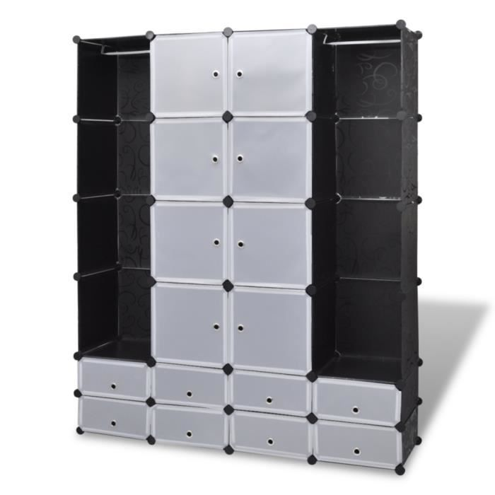 armoire modulable 18 compartiments noir et blanc achat. Black Bedroom Furniture Sets. Home Design Ideas