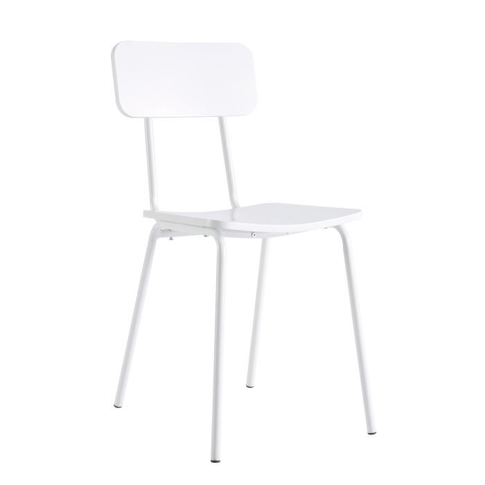 Lot de 4 chaises mika blanches achat vente chaise - Lot 4 chaises blanches ...