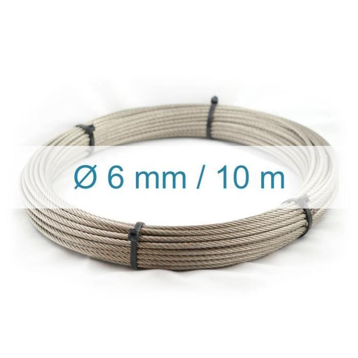 Cable 6mm inox 316 Souple 7x19 VENDU AU METRE inox 316 A4