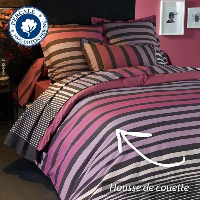 housse de couette 240x220 cm percale pur coton stripe. Black Bedroom Furniture Sets. Home Design Ideas
