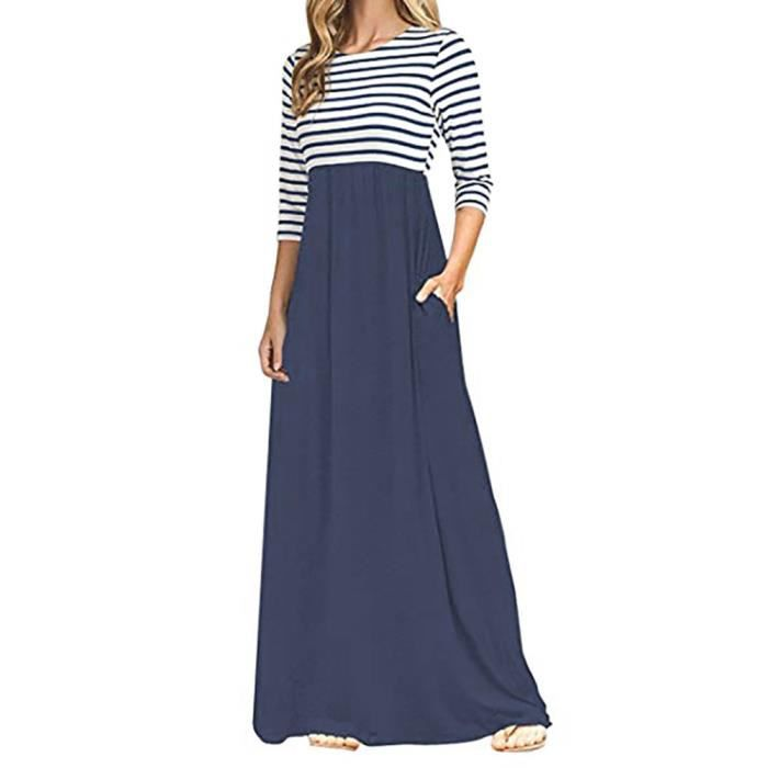 Femmes Robe Longue Manches Longues A Rayures Taille Haute Boho Longues Robes Longues Avec Poches Marine Marine Achat Vente Robe Cdiscount