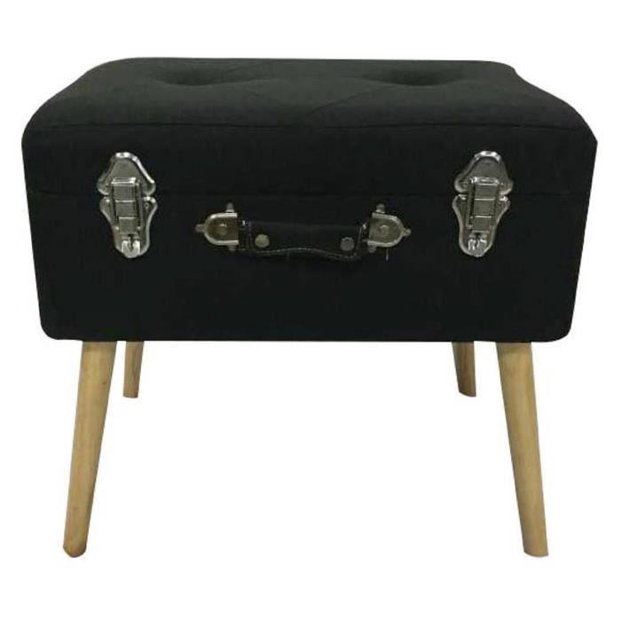 COFFRE - MALLE Coffre valise en bois coloris noir - 50x40x35 cm