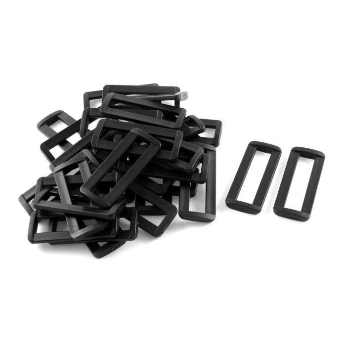 """10pcs 2-BAR boucle-boucles-pour-sangle plastique 50 mm-NOIR /""""B/"""""""