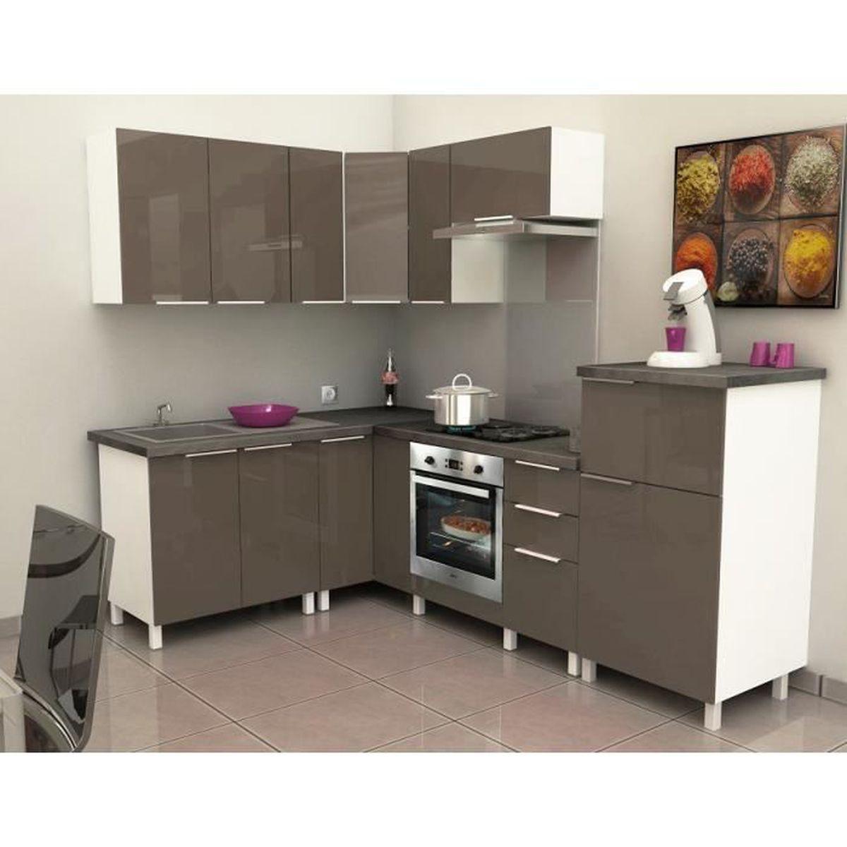 Meuble de cuisine angle haut - 11cm - Taupe - Élément séparé