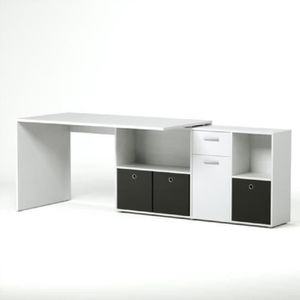 zito bureau angle r versible contemporain blanc brillant l 136 cm achat vente bureau zito. Black Bedroom Furniture Sets. Home Design Ideas