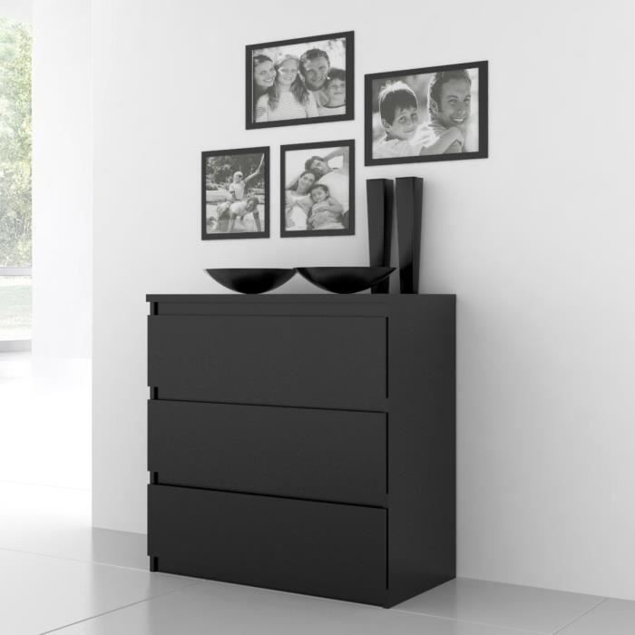 chelsea commode 3 tiroirs noir 78 x 80 cm achat vente commode de chambre chelsea commode 3. Black Bedroom Furniture Sets. Home Design Ideas