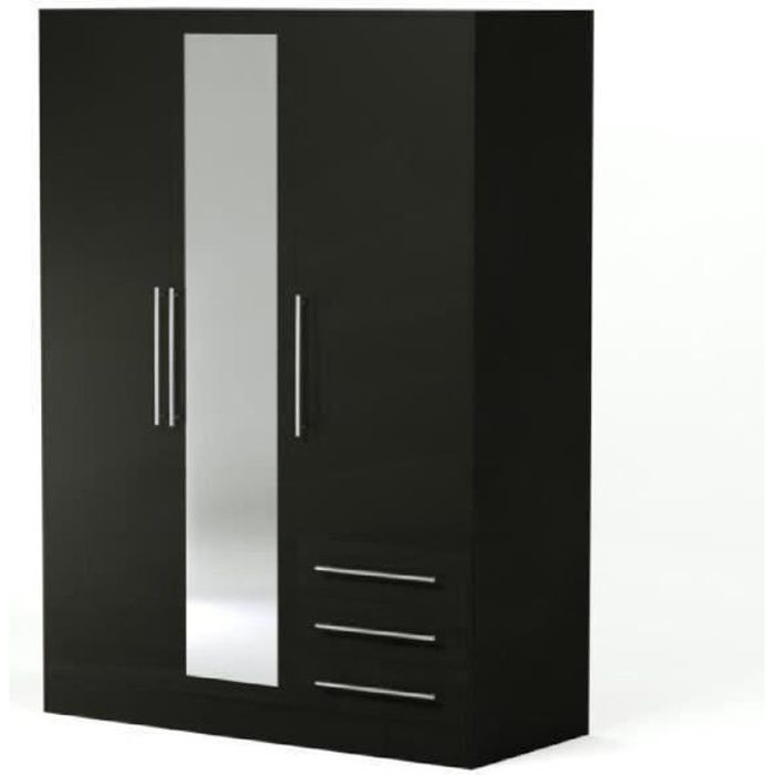 jupiter armoire de chambre style contemporain en bois agglom r noir l 144 6 cm achat. Black Bedroom Furniture Sets. Home Design Ideas