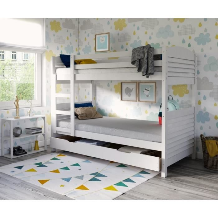 woopi lit superpos enfant mixte tiroir en bois massif blanc l 98 x l 198 cm achat. Black Bedroom Furniture Sets. Home Design Ideas