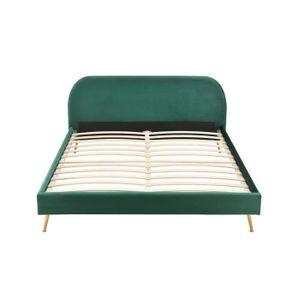 STRUCTURE DE LIT ZEN Lit scandinave velours vert et pieds dorés + S