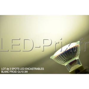 SPOTS - LIGNE DE SPOTS LOT de 3 Spots LED encastrable GU10 3W Blanc Froid