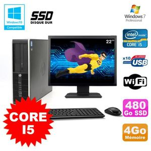 UNITÉ CENTRALE + ÉCRAN Lot PC HP Elite 8200 SFF Core I5 3.1GHz 4Go 480Go