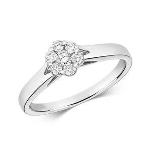BAGUE - ANNEAU Bague Femme Or Blanc 375-1000 et Diamant Brillant