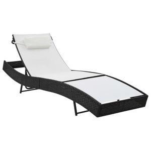 CHAISE LONGUE Chaise longue Résine tressée Noir et blanc