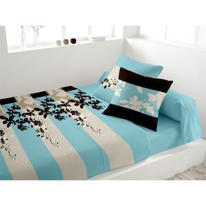 parure de lit 2 personnes avec drap plat achat vente. Black Bedroom Furniture Sets. Home Design Ideas