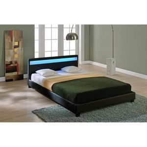 STRUCTURE DE LIT LUNA Lit adulte avec LED contemporain simili noir