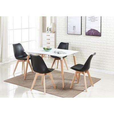 Ensemble mangerCuisineChambre pour Scandinaves salle Rico4 à Manger Chaises à Blanche Table moderne Noire thdsQr