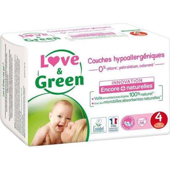 Couches B/éb/é Hypoallerg/éniques 0/% Taille 3 4-9 kg Love /& Green 52 couches