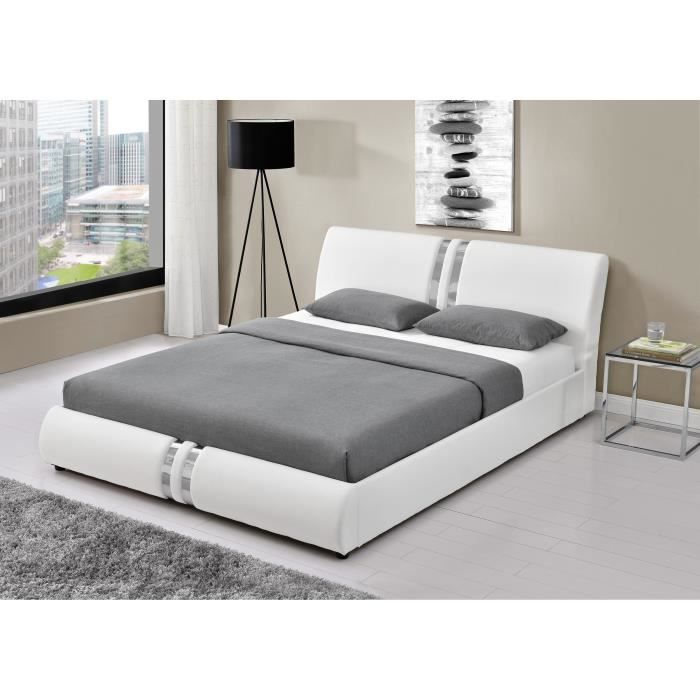 doha lit adulte contemporain simili blanc sommier inclus l 140 x l 190 cm achat vente. Black Bedroom Furniture Sets. Home Design Ideas