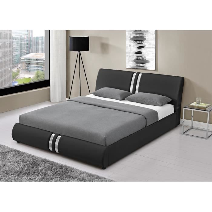 doha lit adulte 140x190 cm en simili t te de lit. Black Bedroom Furniture Sets. Home Design Ideas