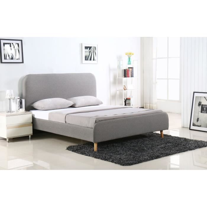 eriksen lit adulte sommier scandinave tissu gris clair. Black Bedroom Furniture Sets. Home Design Ideas