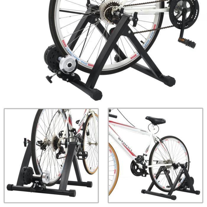 YAJ Support à rouleau pour vélo d'appartement 26po-28po Accessoires pour vélos d'exercice Acier Noir 61 x 55 x 38 cm