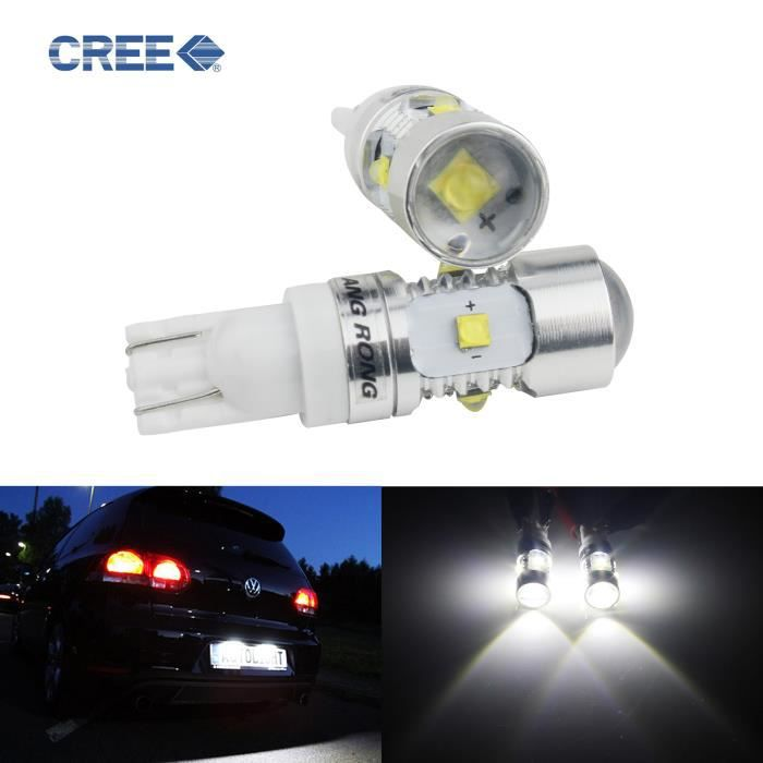 ANGRONG 2 Ampoule W5W T10 25W LED Veilleuses Lampe Lecture Plaque Lumière Blanc 12V