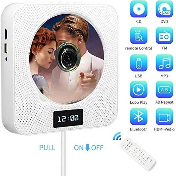 Lecteur CD/DVD Portable, Montage Mural Bluetooth Lecteur DVD/CD avec Télécommande,Haut-Parleur HiFi intégré/Radio FM/Prise de Casque
