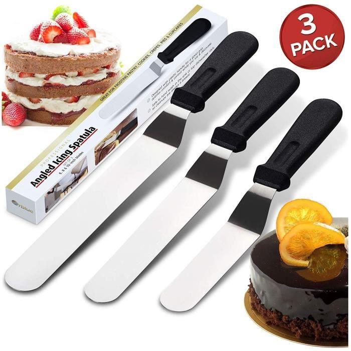 Spatules coudées à pâtisserie - Spatule à Glaçage en Acier Inoxydable Gâteau Pâtisserie Palette Pelle Cuisine Lisse, Lot de 3, Noir