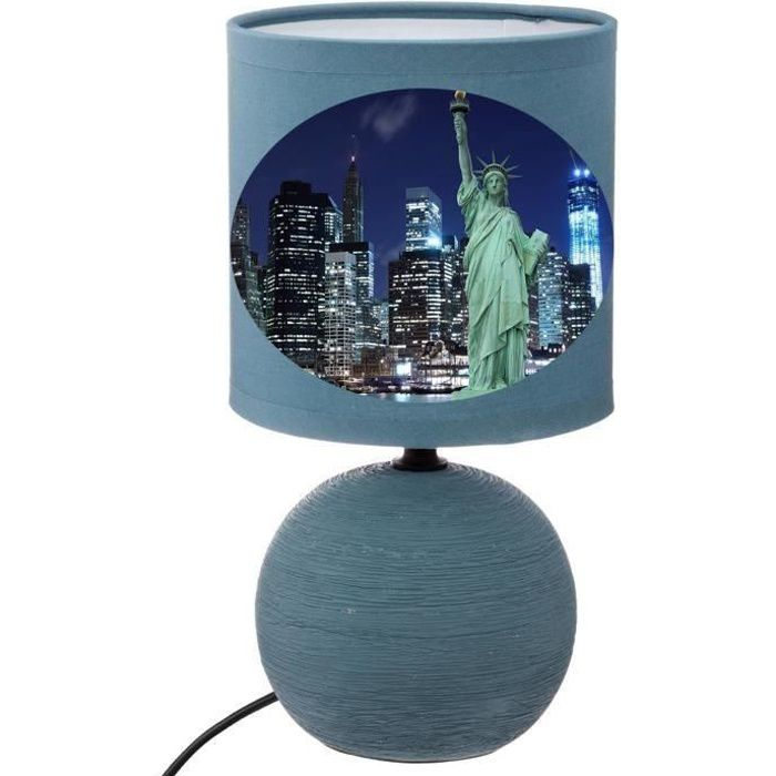 LAMPE DE CHEVET BLEU NEW YORK STATUE LIBERTÉ