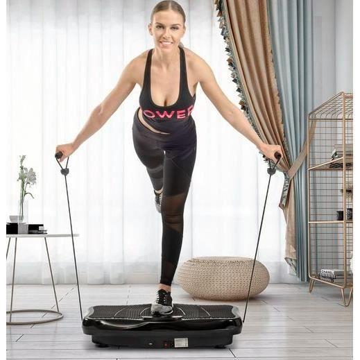 Plateforme Vibrante et Oscillante Double Moteur 3D pour Musculation et Fitness, LCD, 200W + 200W,5 programmes - Noir