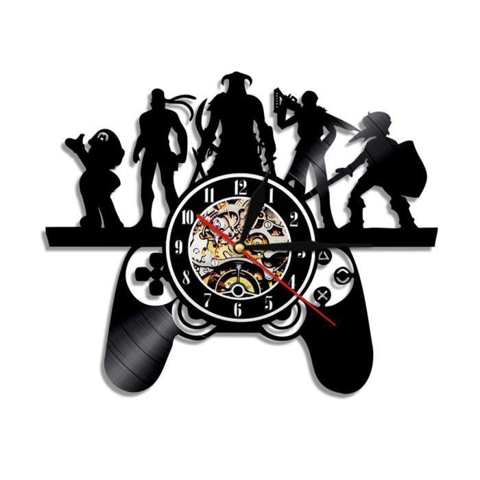 Contrôleur de jeu Design artiste éléments noir horloge murale suspendue lumière magique Geek Gamer jeu contrôleur d-No Led