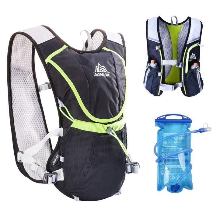 Hydration Pack Sac à Dos Professionnel 8L à l'extérieur Mochilas Trail Marathoner Course à Pied Vélo d'hydratation Gilet, Noir