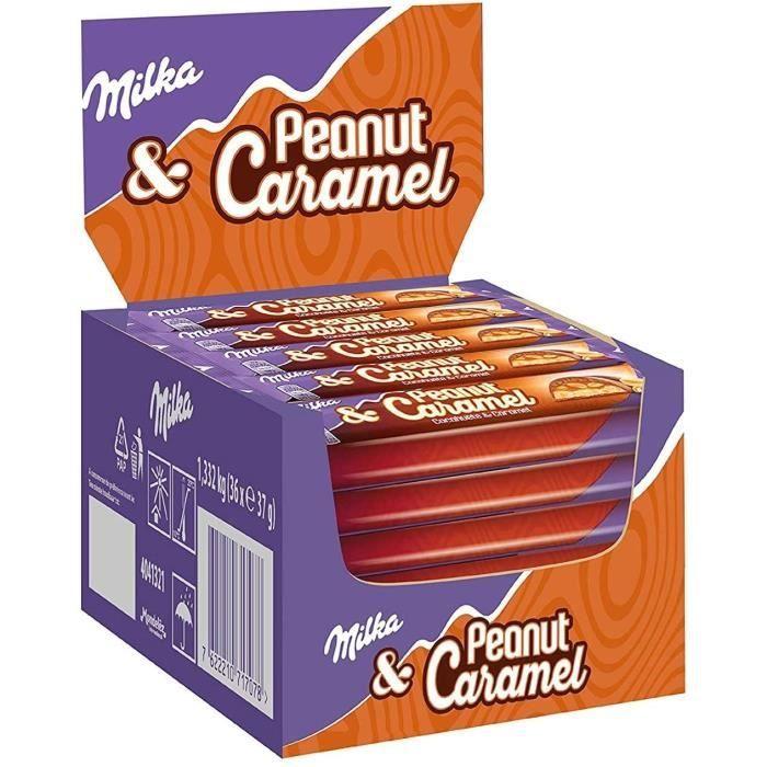 Milka Peanuts Caramel - Pack de 36 barres au chocolat au lait (37g)