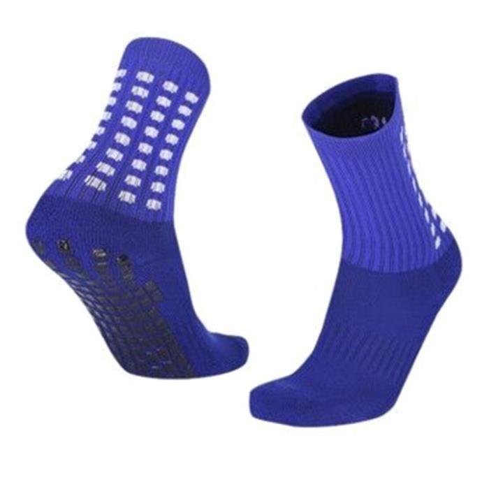 Chaussettes antidérapantes à tube intermédiaire Femmes Hommes Chaussettes de basket-ball Marine Bleu