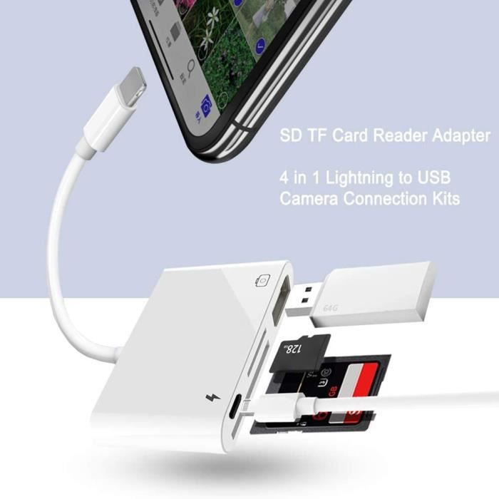 Accessoires Reflex 360°,Lecteur de carte mémoire USB OTG adaptateur approvisionnement bureau fournitures informatiques pour iPhone